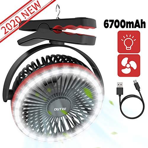 OUTXE 6700mAh Camping Ventilator mit 28 LED Licht Zelte Ventilator Clip-On Ventilator USB Ventilator
