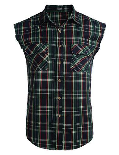COOFANDY Men's Sleeveless Flannel Plaid Shirts Cut Off Cotton Plus Size Vest with Pockets