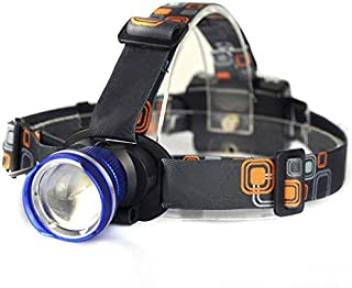 BESTSUN Zoomable LED Headlamp 3 Mode Water-Resistant Headlight Hands Free Work Light Outdoor Camping Torch Flashlight with Adjustable Strap Light Weight 3AA Batteries Powered(Not Included)-Blue