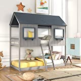 Low Bunk Beds Wood Twin Over Twin Bunk Bed House Bed Frame with Roof Kids Bedroom Furniture House Bed for Kids and Toddlers,Gray