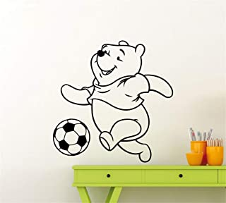 Winnie Bear Wall Decal Kids Room Home Decoration Accessories Soccer Pattern Pooh Play Football Wall Stickers Cartoon Decor for Bedroom