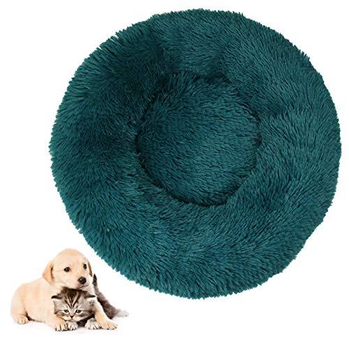 Cama para mascotas, gato, suave, esponjosa, redonda, fácil de quitar, lavable, sofá para perros con parte inferior resistente al agua, para gatos y perros pequeños, diámetro de 100 cm