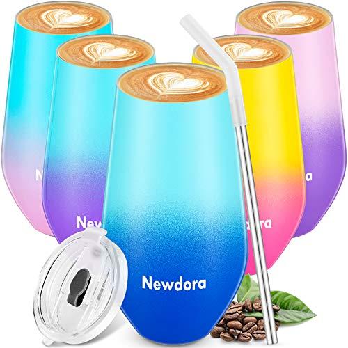Newdora Thermobecher Kaffeebecher to go, Edelstahl Isolierender Kaffeetasse BPA-Frei, Isolierbecher mit Trinkhalm und Deckel, Kaffeebecher für Kaffee, Wein und Cocktails