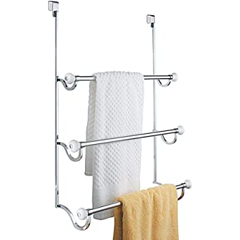 1.5 x 7 x 22.8 iDesign York Over the Over the Shower Door Towel Rack for Bathroom Chrome//Brushed
