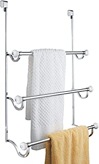 iDesign York Metal Over the Shower Door Towel Rack, Hooks for Master, Guest, Kids' Bathroom, 4.75