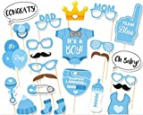 CHSYOO 25x It's a Boy Azul Chico Photo Props Photo Booth Props Photobooth Decoración para Baby Shower Baby Shower Bautismo Baby Birthday Babyshower Party