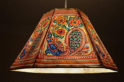 Hexagonal Ceiling Lamp shade | Hand Painted Pendant in Indian Peacock and Floral Pattern | Large Pendant shade in 9.5 inches Height, 16 inches Width.