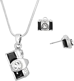 Crystal Camera Theme Necklace and Earrings Set with Gift Box