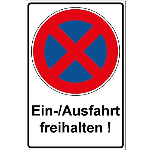 Schild Einfahrt/Ausfahrt freihalten aus Alu/Dibond 200x300 mm - 3 mm stark