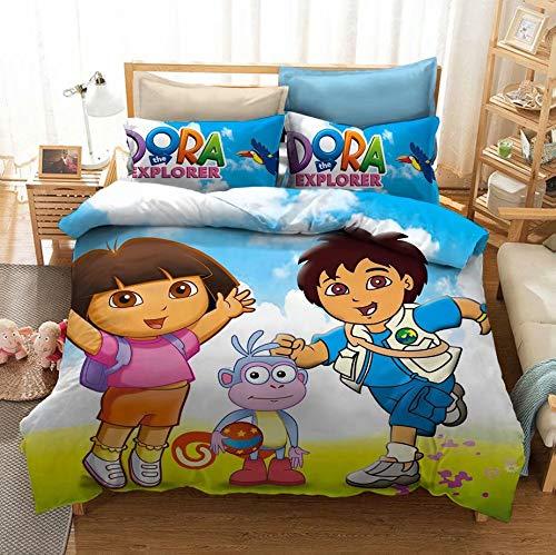 3 Piece Cartoon Bed Set Dora The Explorer Duvet Cover Dora Decorative Microfiber Girls Bedding Sheet Set Queen