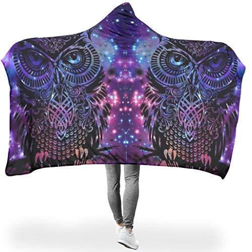 O2ECH-8 Tragbare Decke Übergröße Mit Kapuze Decke Owl Animal-Mirror Themen Drucken Decke Winter Fleece Gemütlich Kapuze Robe - Passt klimatisierte Zimmer Verwenden White 130x150cm