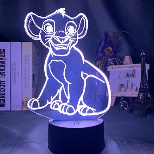 3D Visual Led Night Light Illusion Simba Lion King adapté pour chambre enfants anniversaire cadeau de Saint Valentin - noir Base_Simba sans queue