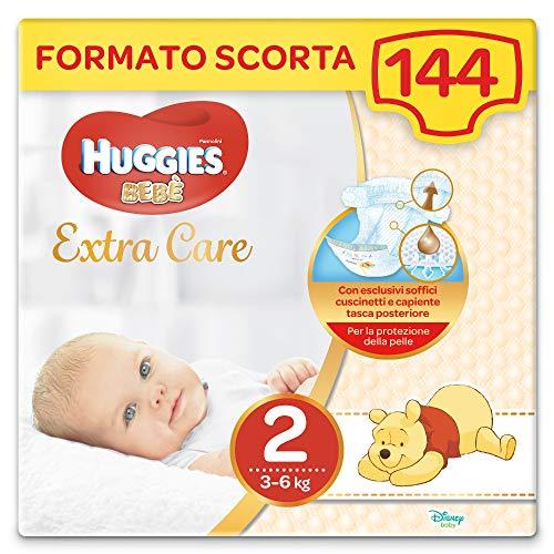 Huggies Extra Care Bebè - Pannolini Taglia 2 (3-6 kg), Confezione da 144 Pezzi