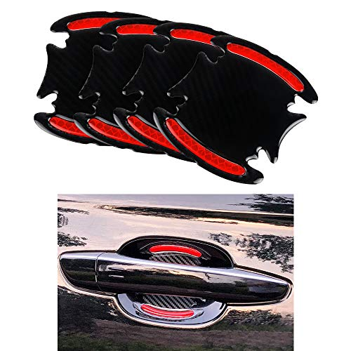 1797 Car Door Handle Cup Cover Scratch Protector Vehicle Accessories Paint Protection Protective Padded Film Pad Anti Fingernails Trim Stickers Decals Kit Parts Reflective Carbon Black Red 4 Pack