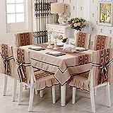 FGHN Tischdecke Baumwolltuch Tischdecke Tischtuch Polsterbezüge passen moderner japanischen Stil Stuhl minimalistisch Moderne Esstisch Sets verhüllen (Color : Coffee Color)