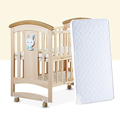 Best Buy! YBDXMM Pine Baby cot Bed, Mosquito net Solid Wood 3-Position Base Height Adjustable Swing ...
