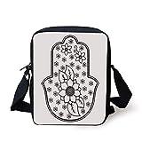 FFLISHD Hamsa,Ancient Hand of Fatima with Cute Lotus Blossoms Kabbalah Theme Mehndi Style Artwork,Black White Print Kids Crossbody Messenger Bag Purse