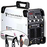 STAHLWERK AC/DC TIG 200 Plasma ST IGBT Combi 200 Amp TIG + saldatore MMA con taglierina al plasma CUT da 50 Amp, adatto per ALU, bianco,7 anni di garanzia
