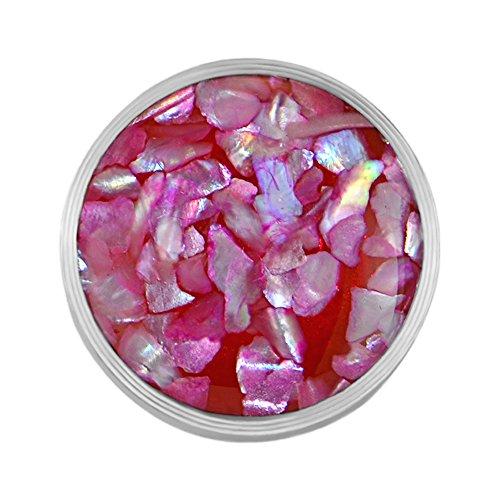 Quiges Edelstahl Austauschbare Mini Coin 12mm Wechselstein Pink Flocken Muschel für Ringe-Ohrringe-Anhänger-Armband Halter