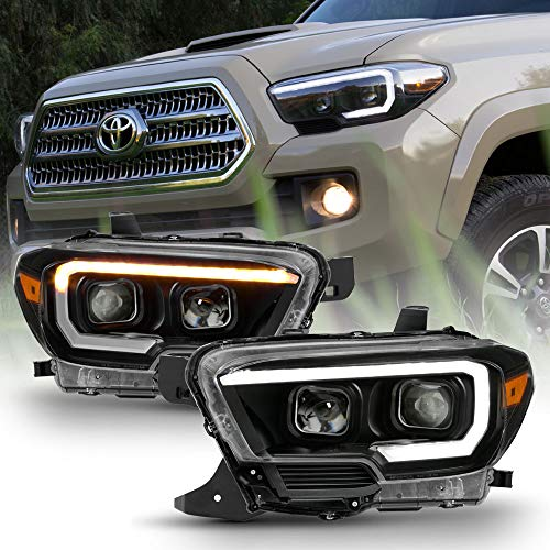 ACANII - For [Factory w/LED DRL Model] 2016-2019 Toyota Tacoma Black Housing LED Sequential Signal Headlights Headlamps