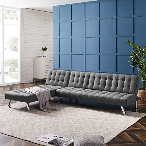 YANGAC Couches for Living Room, L Shaped Couch Sectional Sofa Couch with Convertible Chaise Lounger for Living Room Home Office Furniture, US Stock,Grey