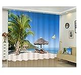 N\A Cortinas Termicas Aislantes Frio Calor Reducción Ruido Protección Intimidad - Sillón De Playa con Palmera - H245 X W280 Cm