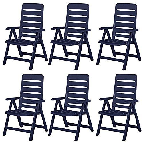 6 Kettler Nizza tuinstoelen tuinmeubelen fauteuil klapstoel in blauw