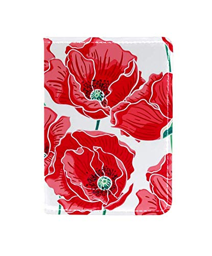 Red Poppies Floral Passport Holder Cover Wallet,RFID Blocking Card Case Travel Passport Organizer Protector