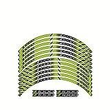 Etiquetas engomadas de Las calcomanías de Las Ruedas de la Motocicleta Establecer Rayas laminadas para Kawasaki Z1000 (Color : Light Green)