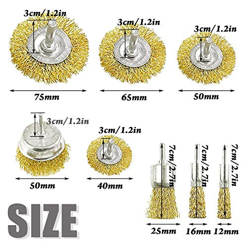 8 Pack Wire Brush Wheel Cup Brush Set,Drill Wire Wheel with 1/4-Inch Shank for Cleaning Rust,Drill Attachment,Stripping and Abrasive