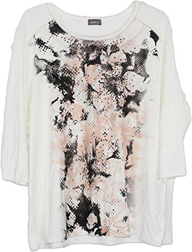Damen Shirt ¾ Arm Tshirt Pullover weiß schwarz rosa (50)