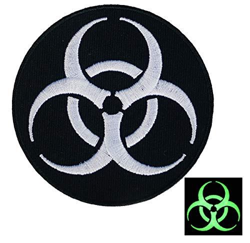 Graphic Dust { Glow in The Dark } Biohazard Iron on Embroidered Patch Logo Symbol Danger Radiation Zombie Virus Black White Applique Response Team Stars Death Stop