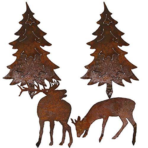 EQT-TEC *Premium* Gartendekoration Mini Edelrost Set Hirsch + REH + 2 Stück Tannenbaum Rostfigur Garten Dekoration