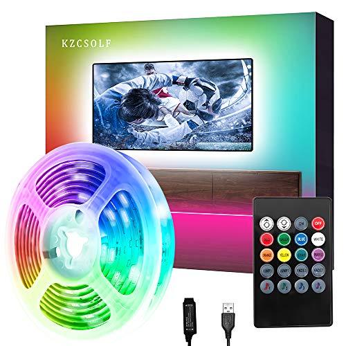 Luces LED 2M, KZCSOLF Tira LED USB con Control Remoto, Sincronizar con música,Retroiluminacion LED de TV,para Habitación, Bar, Cocina