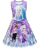 Koveinc Princess Costume Party Dress Little Girls Cosplay Dress up Purple 120(5-6 Years)