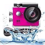 JLYLY Acción de la cámara Sport HD Deportes cámara 4K Ultra H9 HD1080P 12MP 2 Pulgadas de Pantalla LCD Wi-Fi, 170 Grados Lente Gran Angular, 30m Impermeable (Negro) (Color : Pink)