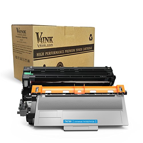 (1 Drum + 1 Toner) V4INK174; New Compatible Brother DR720 + TN750 Compatible Drum Unit and Toner cartridge