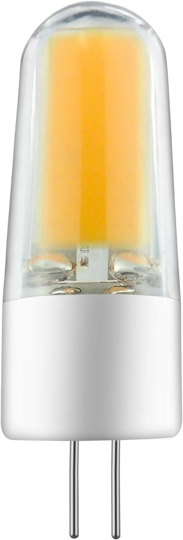 Ampoule G4 LED, sin oscurecimiento, sin parpadeo, blanco cálido 3000 K, COB LED, 3 W, 350 lm, equivalente halógeno de 35 W, AC/DC 12 V, 10 paquetes