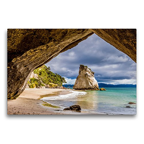 Premium Textil-Leinwand 75 x 50 cm Quer-Format Cathedral Cove - Neuseeland | Wandbild, HD-Bild auf Keilrahmen, Fertigbild auf hochwertigem Vlies, Leinwanddruck von Thomas Klinder