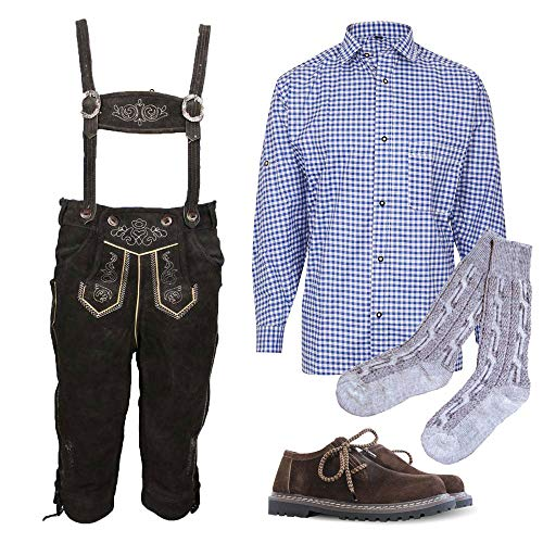 MS-Trachten Trachtenset Kinder Lederhose Anton mit Hemd blau, Schuhen u. Strümpfen (140-32)