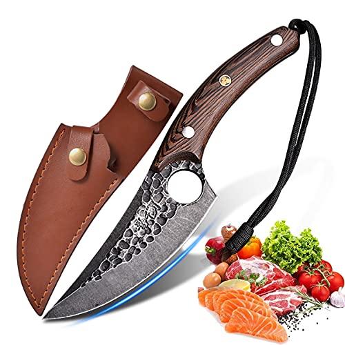 Cuchillo de cocina huusk japon con juego de agujeros, cuchillo de chef para deshuesar profesional, cuchillo de carnicero chino, cuchillo vikingo forjado
