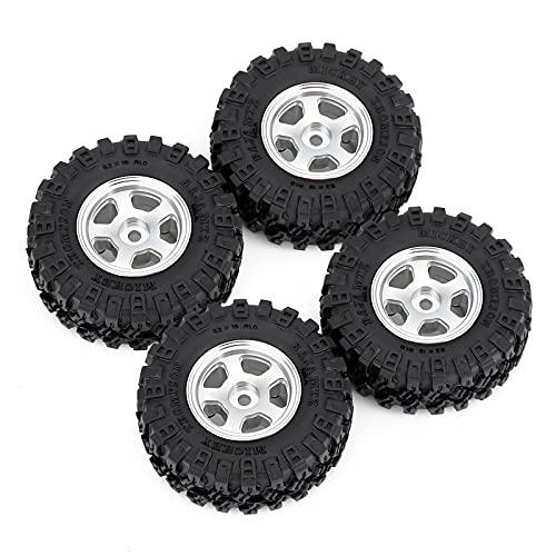 HOTSTORM 1.0 Beadlock Micro Crawler Wheel Rims Tires Set for 1/24 RC Crawler Car Axial SCX24 90081...