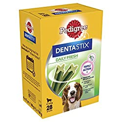 Dentastix fresh dog chews are scientifically proven to reduce tartar build up by up to 80 percent when fed daily The dental chews have a distinct blend of green tea extract and eucalyptus oil, which are proven to help freshen breath Helps freshen bre...