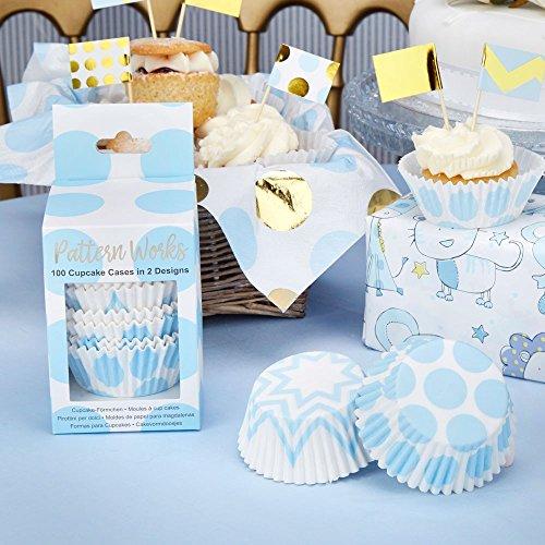 Premium Weddings Cupcake Förmchen Punkte hellblau & Zickzack-Muster hellblau, 100 Stück - Muffinförmchen Hochzeit Cupcake Papierförmchen Baby Shower Muffin Backförmchen Geburtstag hellblau