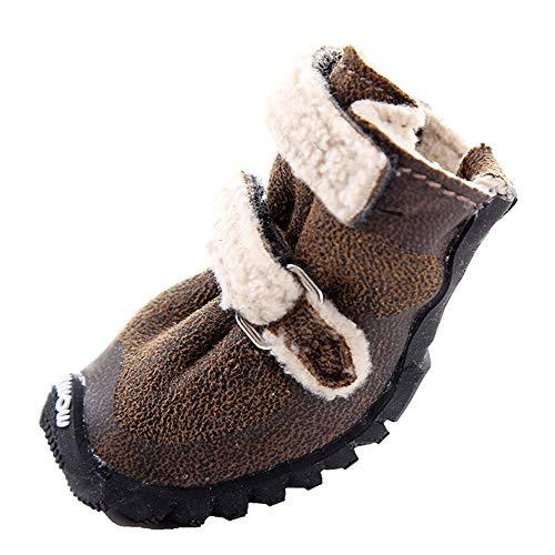 4 Uds Zapatos para Perros para Perros Pequeños Botas de Nieve de Invierno Protectores de Patas Antideslizantes Cómodos Gruesos para Deportes Correr Senderismo,Coffee,50#