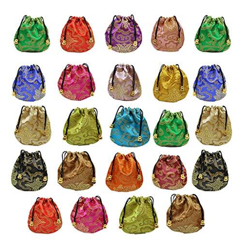 Yanhonin - Bolsa de joyería de brocado de seda, 24 unidades, pequeño satén monedero, brocado chino, bolsa de regalo con cordón bordado para anillo/pendiente