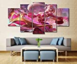 Fbhfbh Anime Canvas Painting, Sona Buvelle League of Legends Game 5 Pieces Hd Print Wall Art Canvas Art Living Room Decoration Painting Wall Art Canvas Decoration-12X16/24/32Inch,with Frame