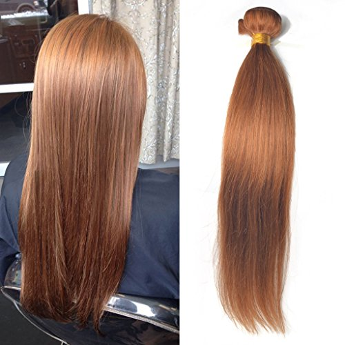 Greemeo Lisse Brésilien Cheveux Tissage 100% Réel Cheveux Humains Extension Sleek Straight 100 Grammes 1 Bundle Pack (14 Pouces, 30 Auburn)