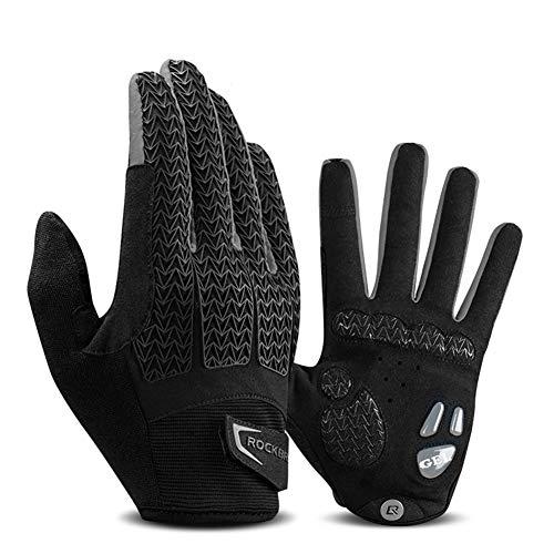 PASLWSSY Cycling Gloves Full Finger Mountain Bike Gloves, Gel Padded Touchscreen MTB Gloves Anti-Slip Shock-Absorbing, Outdoor Sports Bicycle Gloves for Men & Women,Gray