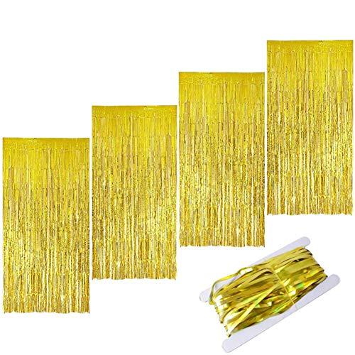 ZHOUZHOU 4pz Cortina de Oropel,Oro Metálica Foil Fringe Cortinas,Tinsel Brillo Cortina,Cortina de Flecos de Papel para Fiesta Boda Cumpleaños Halloween Navidad(1m x 2m) (Oro)